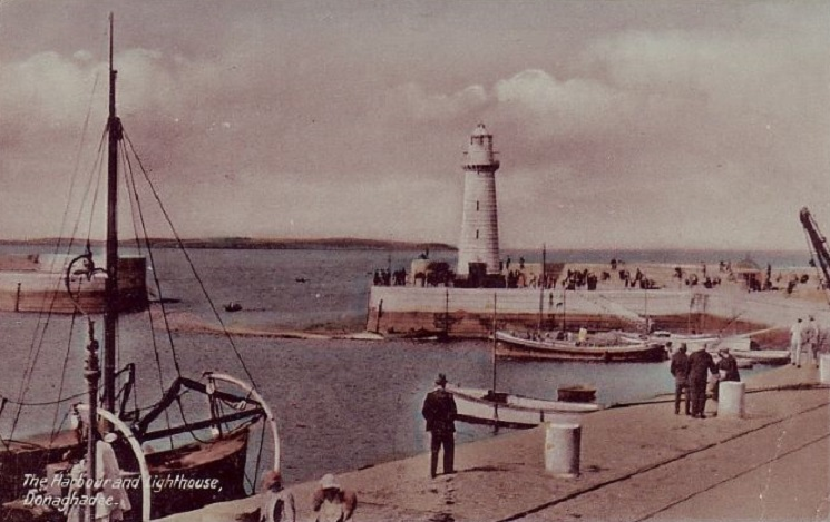 1943 colour image of Donaghadee harbour and lighthouse